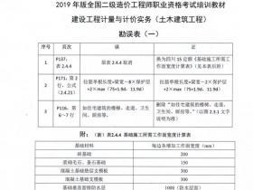 四川2019二级造价工程师考试教材勘误