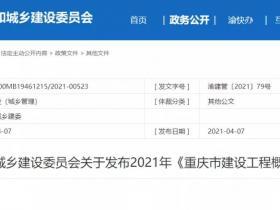 重庆2021概算定额正式发布!6月1日起执行!