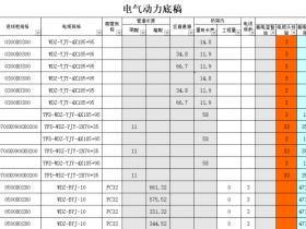 电缆电线配电工程量自动计算表Excel