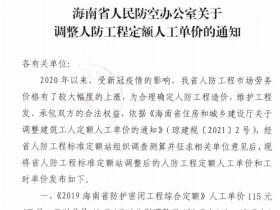 海南省人防工程定额人工单价调整通知-琼人防规[2021]1号