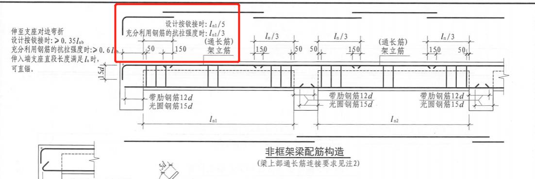 梁支座上部纵筋的长度规定