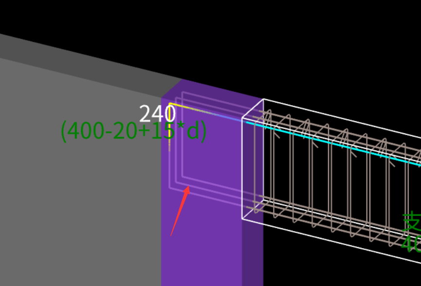 梁与平行相交的墙为支座对钢筋量的影响