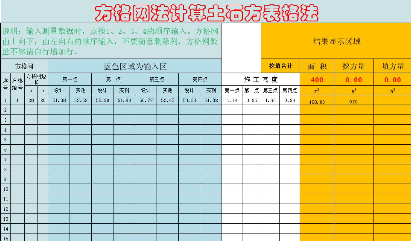 方格网法自动计算土石方表格Excel