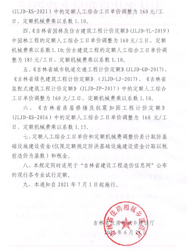 吉林定额人工综合工日单价机械费调整-吉建函[2021]648号